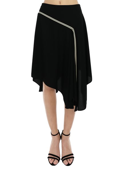 Asymmetric Black Midi Skirt