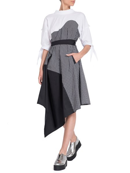 Asymmetric Cotton Dress With Oversized Collar