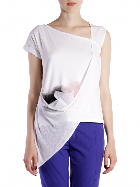 Asymmetric White T-shirt With Tulle Panels