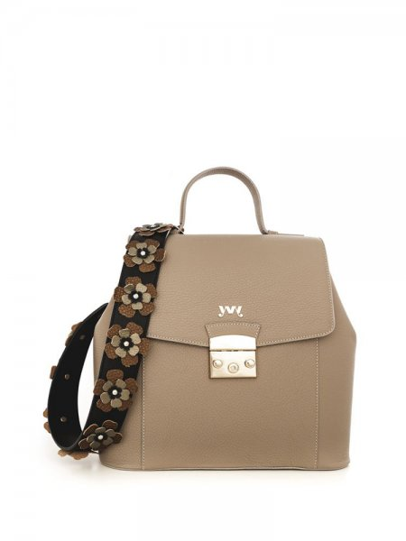 Beige Aceline Backpack with Floral Insertions