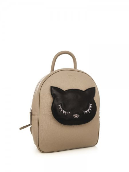 Beige Ami Backpack with Black Kitty