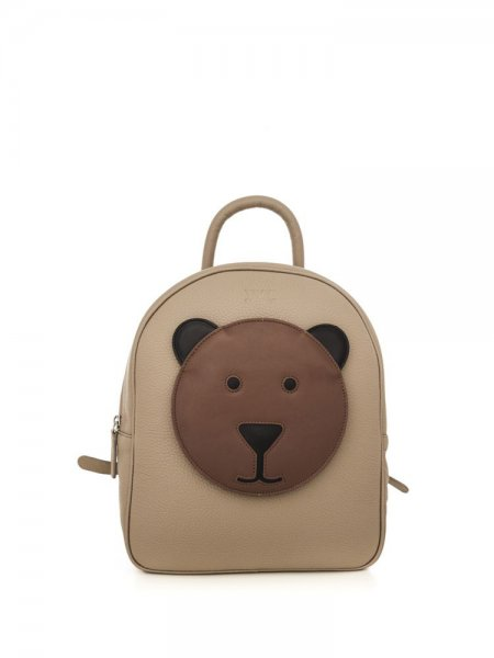 Beige Ami Backpack with Brown Bear