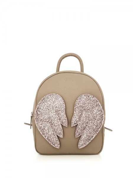 Beige Ami Backpack with Pink Wings