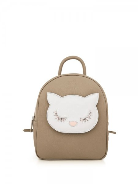 Beige Ami Backpack with White Kitty