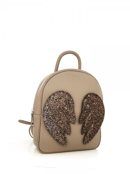 Beige Ami Brown Wings Backpack