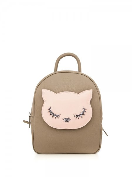 Beige Ami Pink Kitty Backpack