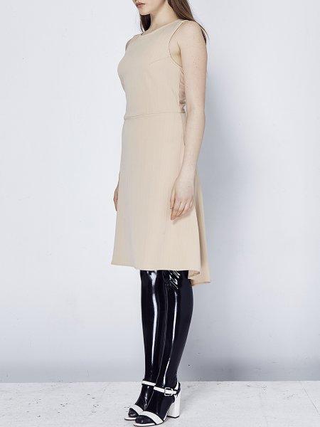 Beige Asymmetric Midi Dress