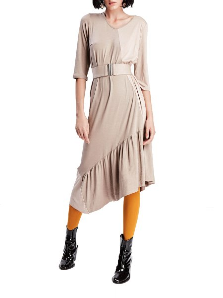 Beige Asymmetric Midi Dress with Belt