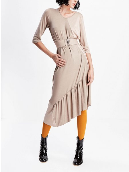 Beige Asymmetric Midi Dress with Belt