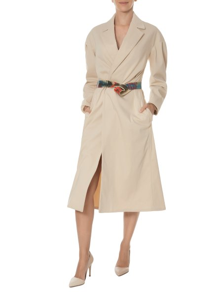 Beige Cotton Trench with Hand Painted Leather Belt