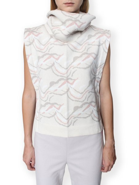 Beige Jacquard Vest