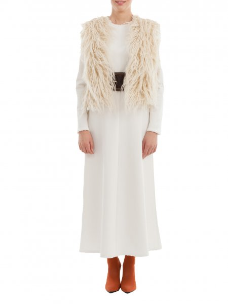 Beige Short Traditional Wool Vest