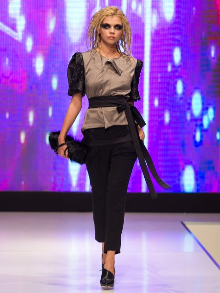 Beige Tailcoat with Structured Shoulders