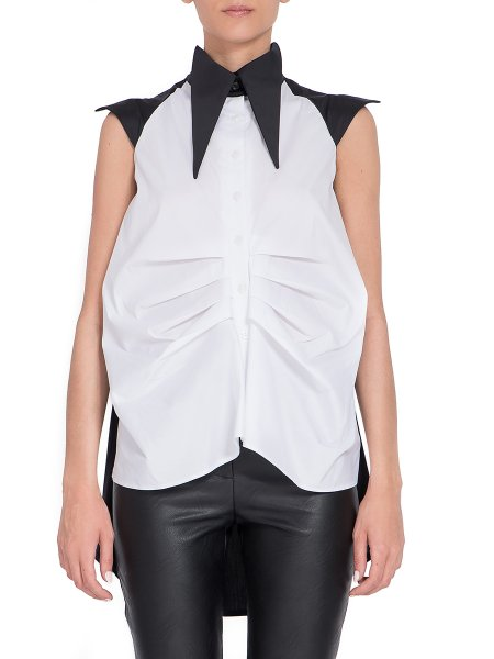 Black & White Oversized Collar Top