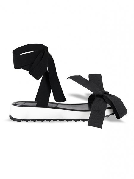 Black & White Ribbon Sandals