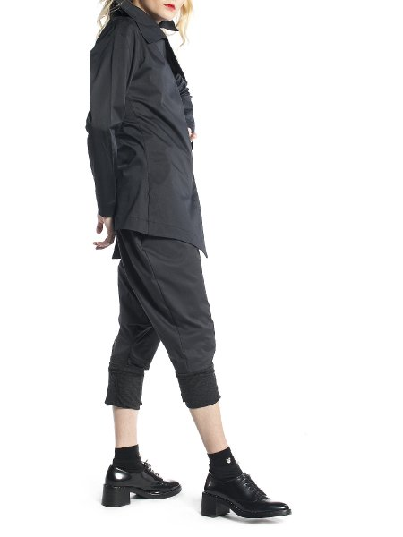 Black Asymmetric Cotton Jacket