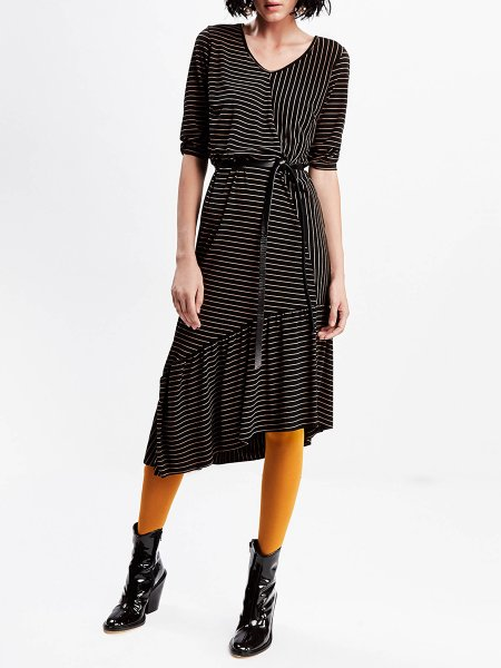 Black Asymmetric Striped Dress