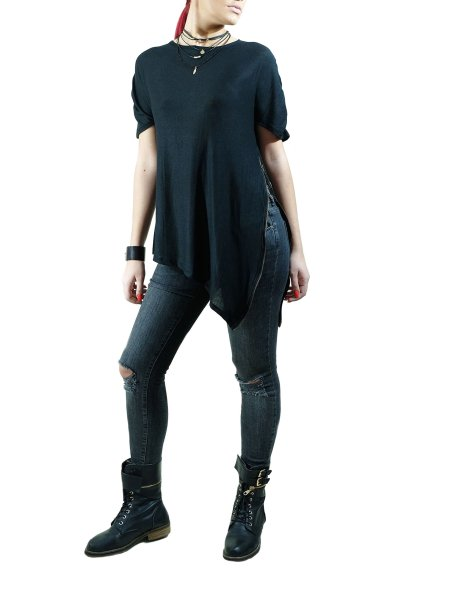 Black Asymmetric Top with Lateral Zip