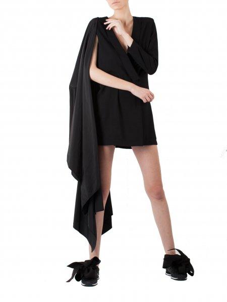 Black Blazer Dress with Oversized Detail