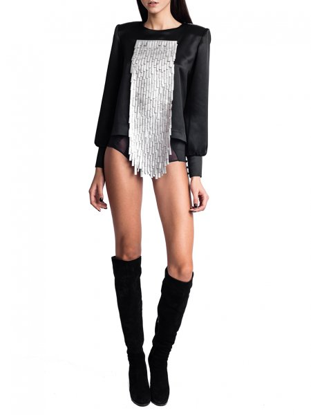 Black Blouse with Silver Fringes