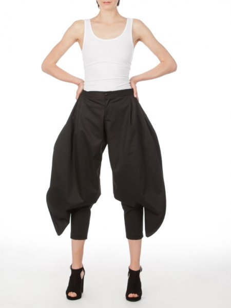 Black Cotton Summer Pants