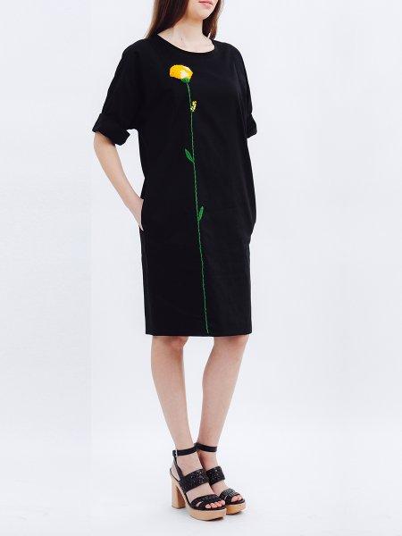 Black Dress with Handmade Dandelion Embroidery