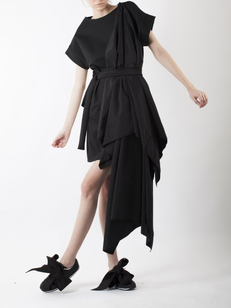 Black Dress with Oversized Detail