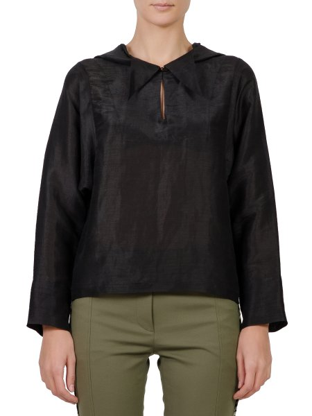 Black Hooded Silk Top