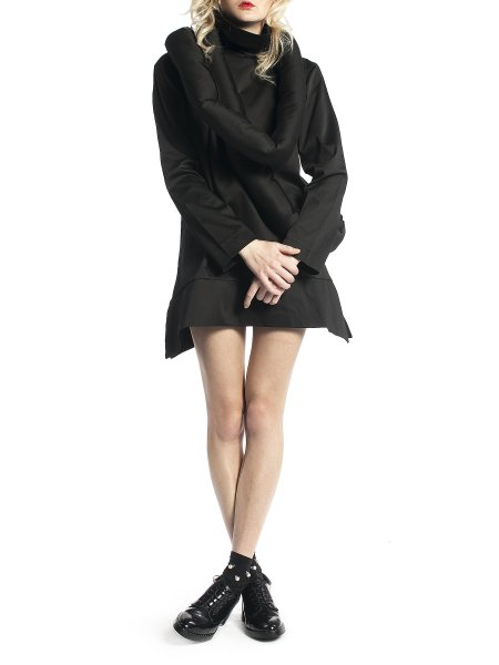 Black Jacket with Oversized Collar