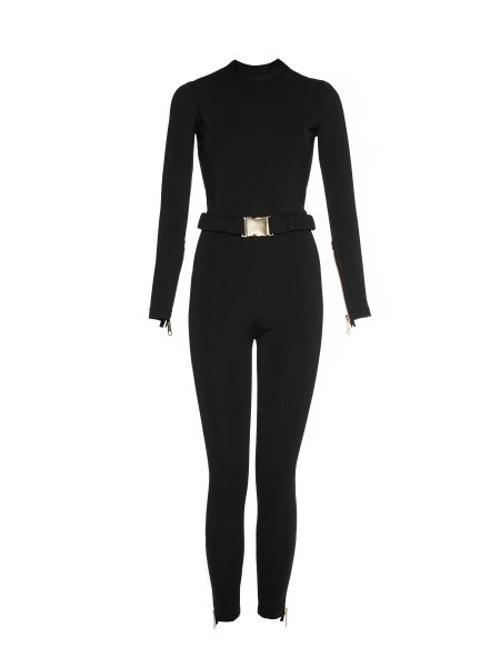 Black Jumpsuit with Golden Details
