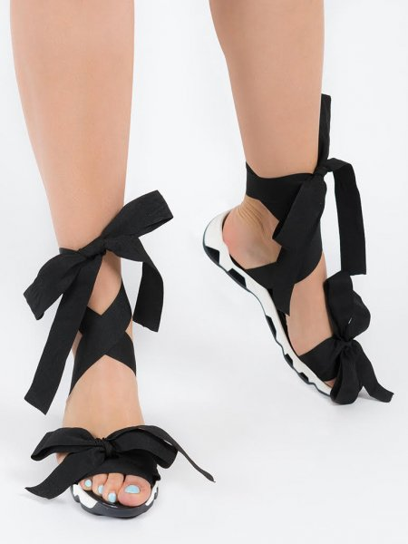 Black Lace-Up Sandals