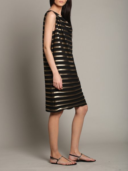 Black Loose Fit Dress with Golden Stripes