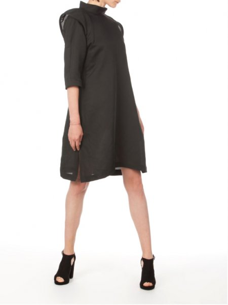 Black Midi Dress with Structured Shoulders