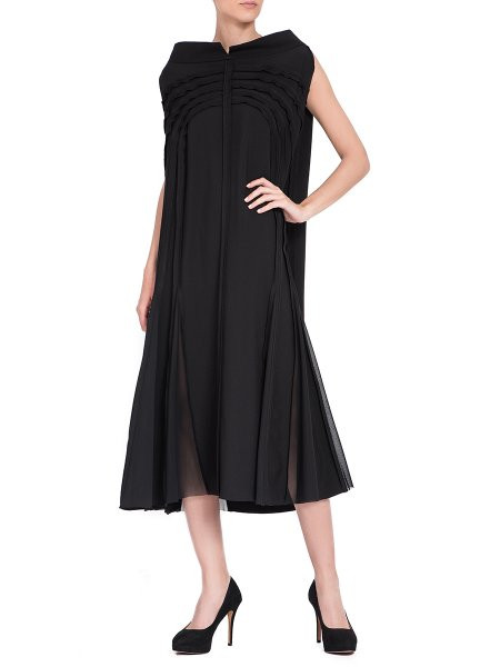 Black Midi Dress with Tulle Insertions