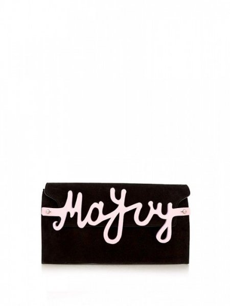 Black Nappa Clutch with Letters Detail