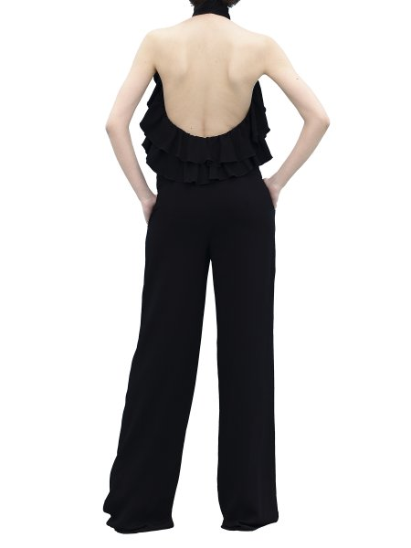 Black Palazzo Jumpsuit With Open Back