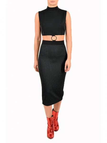 Black Pinstriped Midi Dress