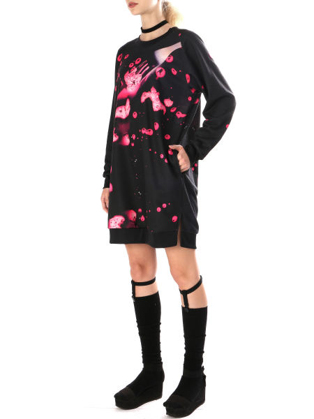 Black Printed Dress With Pockets