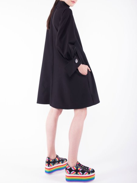 Black Relaxed Fit Dress With High Neck