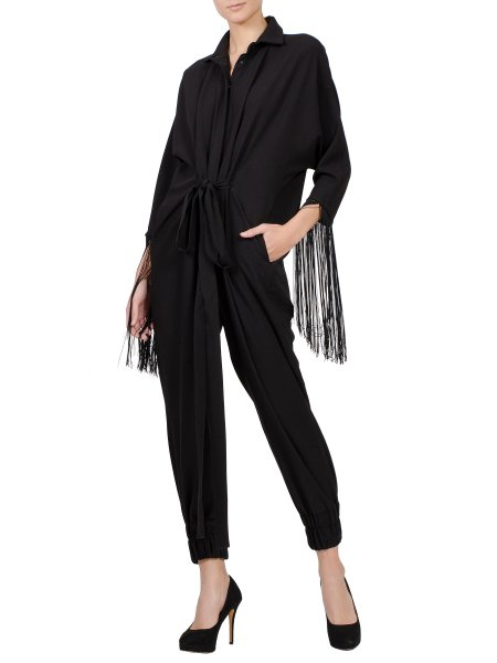 Black Relaxed Fit Jumpsuit With Fringes