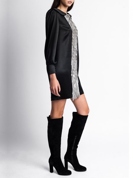 Black Silk Dress with Silver Fringes