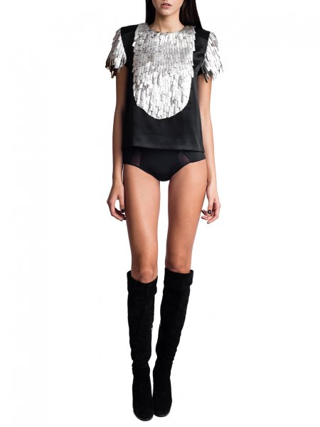 Black Silk Top with Silver Fringes