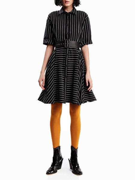 Black Striped Shirt Dress