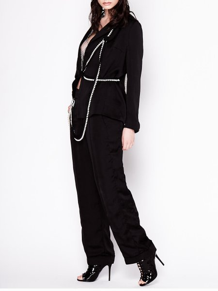 Black Suit Jacket with Pearl Insertions