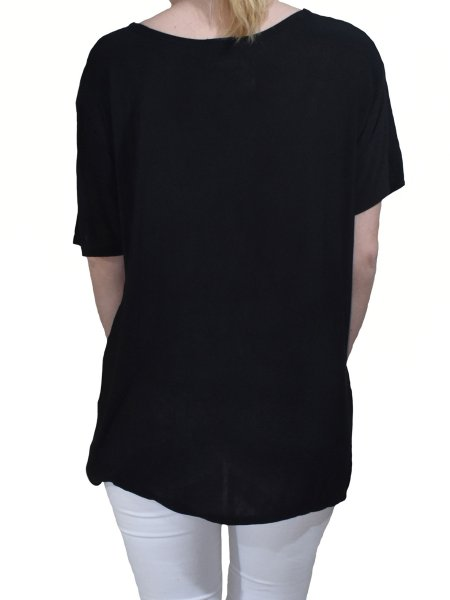 Black T-shirt with Tropical Print