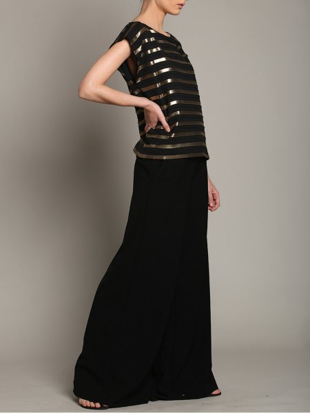 Black Top with Golden Stripes