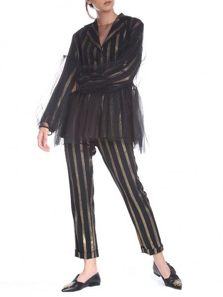 Black Tulle Oversized Blouse