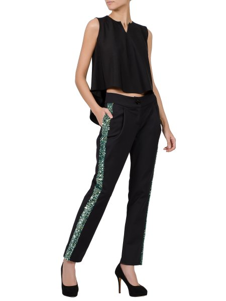 Black Viscose Trousers With Side Sequins