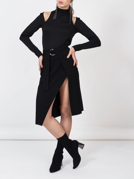 Black Wrap Skirt