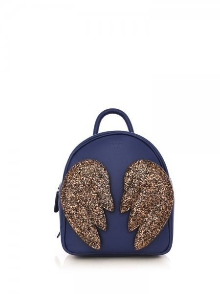 Blue Ami Backpack with Brown Wings